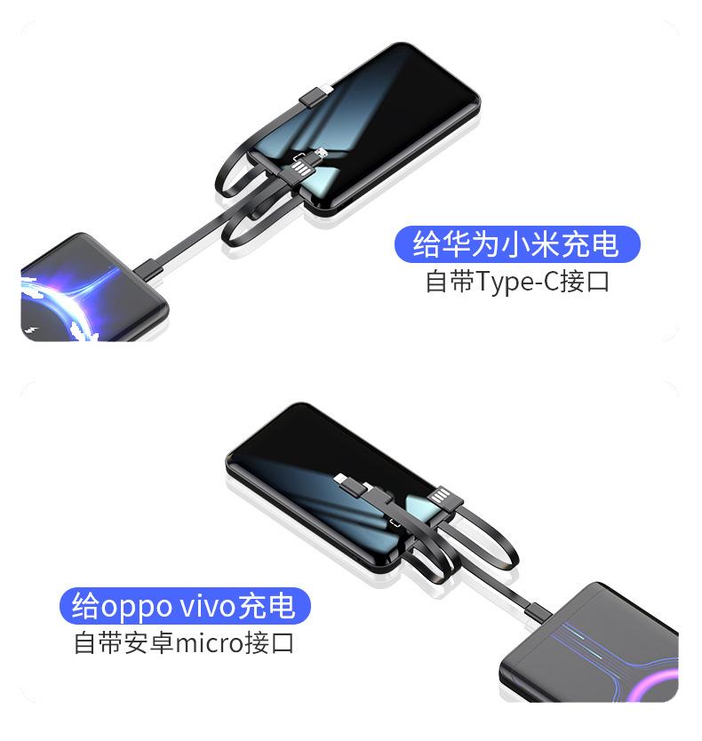 四带线移动电源接口展示